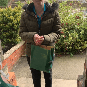 Carer Receiving Bag Of Love