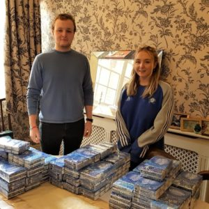 Libertas Volunteers Left To Right Sam Ryder And Alice Ryder With Tissues For Bags Of Love Provided By Libertas